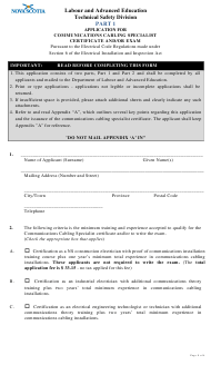 """""""Application for Communications Cabling Specialist Certificate and/Or Exam"""" - Nova Scotia, Canada"""