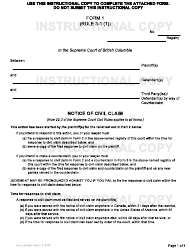 "Form 1 ""Notice of Civil Claim"" - British Columbia, Canada"