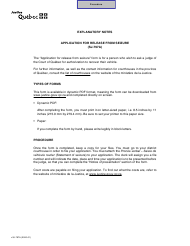 """Form SJ-797A """"Application for Release From Seizure"""" - Quebec, Canada"""