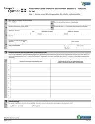"""Forme V-3062 """"Programme D'aide Financiere Additionnelle Destinee a L'industrie Du Taxi - Volet 2: Service-Conseil a La Reorganisation DES Activites Professionnelles"""" - Quebec, Canada (French)"""
