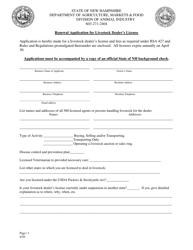 """Renewal Application for Livestock Dealer's License"" - New Hampshire"