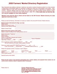 """Farmers' Market Directory Registration"" - New Hampshire, 2020"