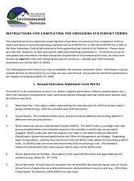 """Instructions for Form INV-E1, NHDES-A-01-002 """"Annual Emissions Statement Form"""" - New Hampshire"""