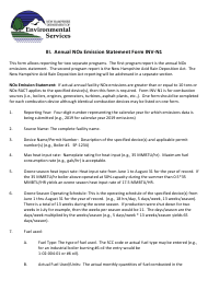 """Instructions for Form INV-N1, NHDES-A-01-004 """"Annual Nox Emission Statement Form"""" - New Hampshire"""