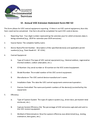 """Instructions for Form INV-V2, NHDES-A-01-007 """"Annual VOC Emission Statement Form"""" - New Hampshire"""
