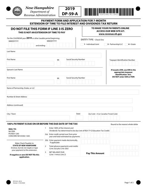 Form DP-59-A 2019 Printable Pdf