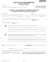 """Form NHJB-2360-DF """"Request for Extension of Domestic Violence or Stalking Final Protective Order"""" - New Hampshire"""