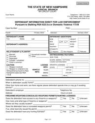 "Form NHJB-2045-DF ""Defendant Information Sheet for Law Enforcement"" - New Hampshire"