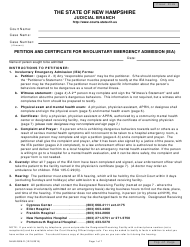 "Form NHJB-2826-D ""Petition and Certificate for Involuntary Emergency Admission (Iea)"" - New Hampshire"
