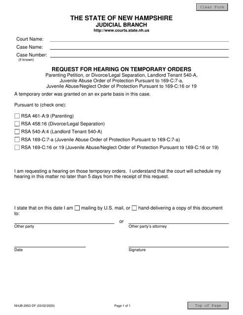 Form NHJB-2953-DF  Printable Pdf