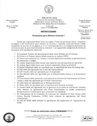 """Formulario Para Obtener Licencia I"" - New Jersey (Spanish)"