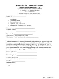 """Application for Temporary Approval"" - New Jersey"