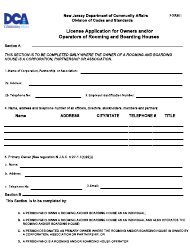 "Form I ""License Application for Owners and/Or Operators of Rooming and Boarding Houses"" - New Jersey"