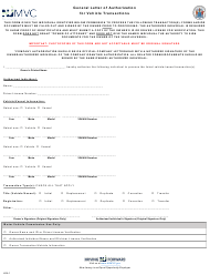 "Form LOA1 ""General Letter of Authorization for Vehicle Transactions"" - New Jersey"