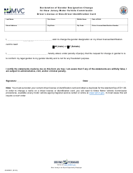 "Form GENDER1 ""Declaration of Gender Designation Change for New Jersey Motor Vehicle Commission Driver License or Non-driver Identification Card"" - New Jersey"