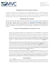 """Form DR-14 """"Bus Application Unit Information Flyer and Declaration"""" - New Jersey"""