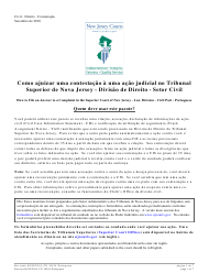 """Form A (10554) """"Civil Action Answer"""" - New Jersey (English/Portuguese)"""