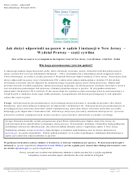 """Form A (10554) """"Civil Action Answer"""" - New Jersey (English/Polish)"""