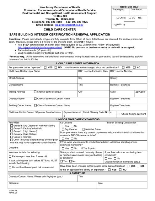 Form CEHS-15 Printable Pdf