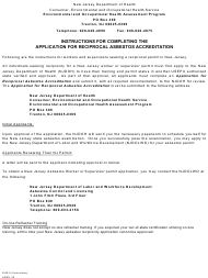 "Form EHS-6 ""Application for Reciprocal Asbestos Accreditation"" - New Jersey"