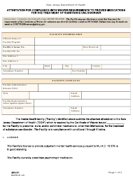 """Form MH-A1 """"Attestation for Compliance With Wavier Requirements to Provide Medications for the Treatment of Substance Use Disorder"""" - New Jersey"""
