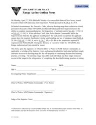 "Form S.P.742 ""Range Authorization Form"" - New Jersey"
