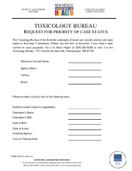 """Form SLDTOX1400 """"Request for Priority of Case Status"""" - New Mexico"""