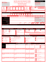 """SLD Form 106 """"Water Analysis Request Form"""" - New Mexico"""