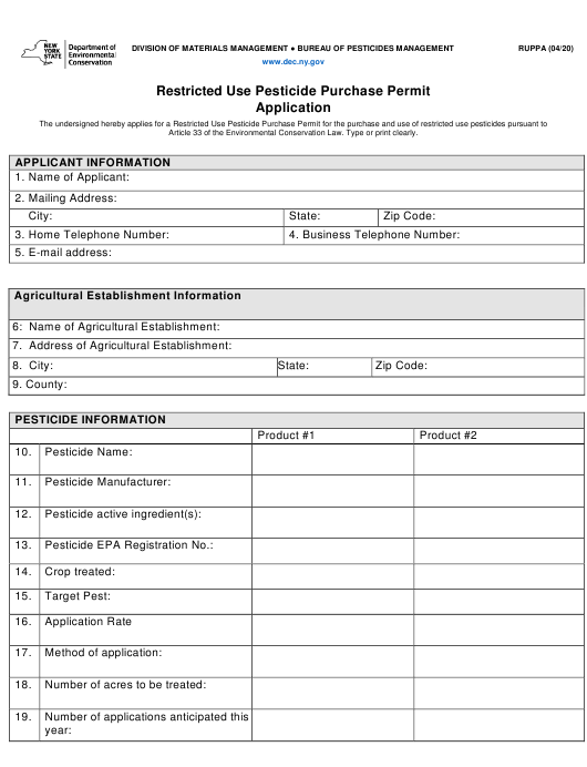 """""""Restricted Use Pesticide Purchase Permit Application"""" - New York Download Pdf"""