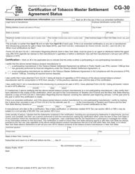 "Form CG-30 ""Certification of Tobacco Master Settlement Agreement Status"" - New York"