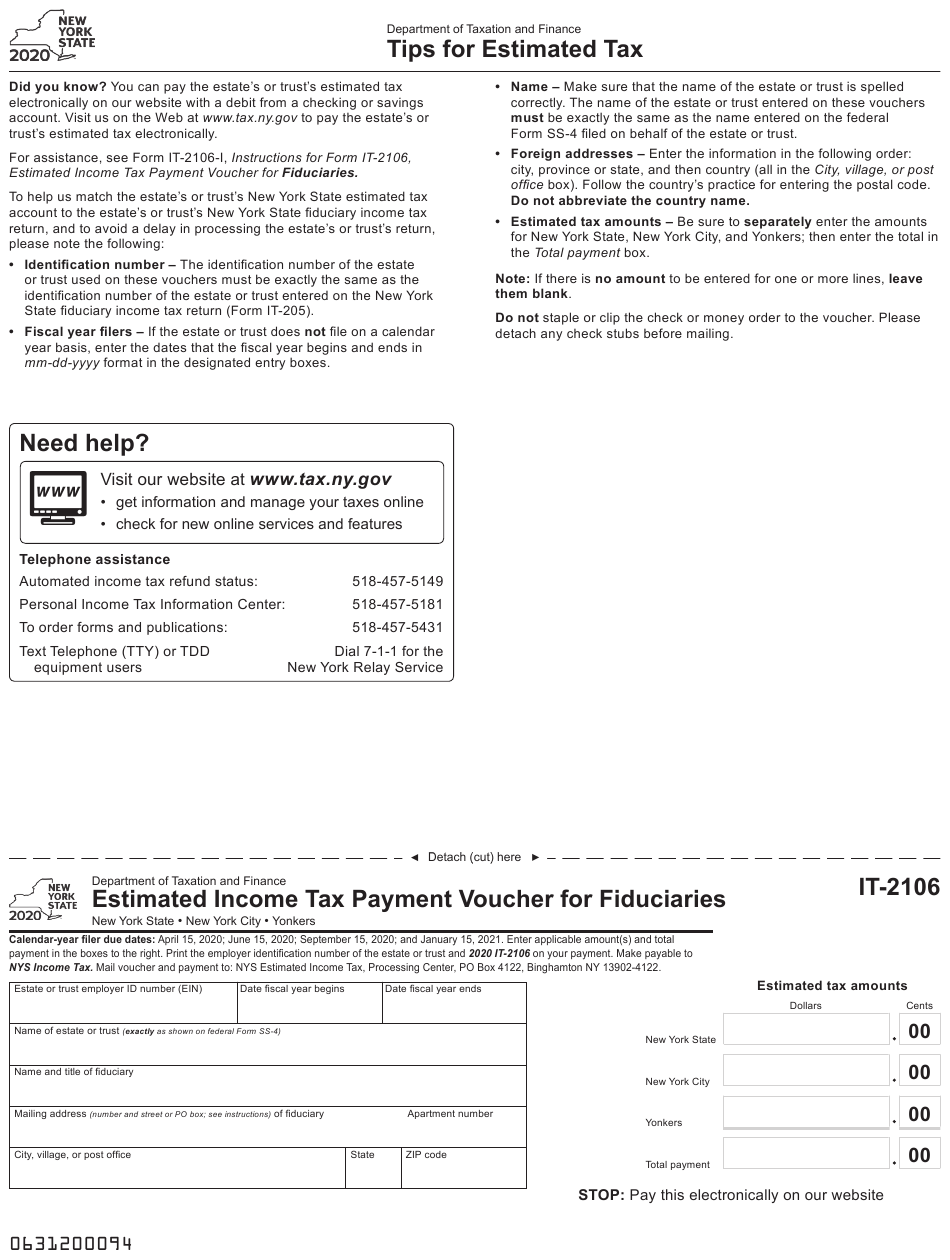 Form IT-2106 Download Fillable PDF or Fill Online ...