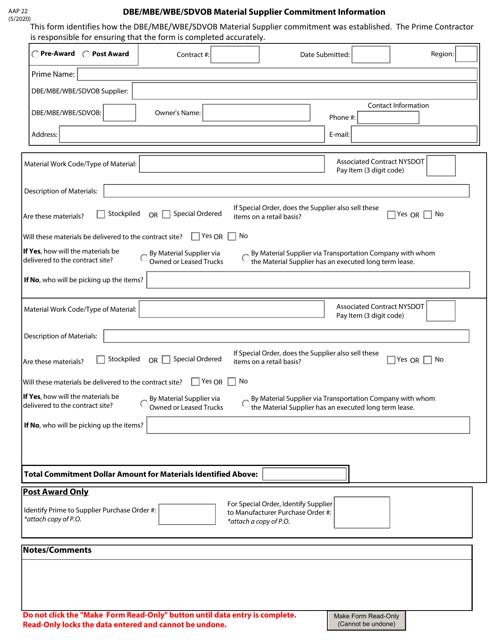 Form AAP22 Printable Pdf