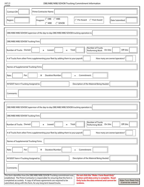 Form AAP23  Printable Pdf