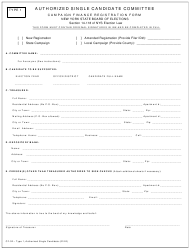 "Form CF-02 Type 1 ""Authorized Single Candidate Committee Campaign Finance Registration Form"" - New York"