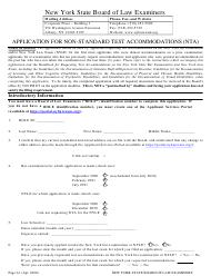 """""""Application for Non-standard Test Accommodations (Nta)"""" - New York"""