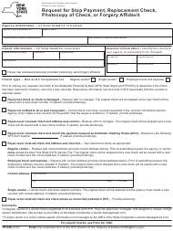 "Form TD-346 ""Request for Stop Payment, Replacement Check, Photocopy of Check, or Forgery Affidavit"" - New York"
