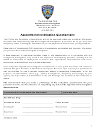 """""""Appointment Investigation Questionnaire"""" - New York City"""