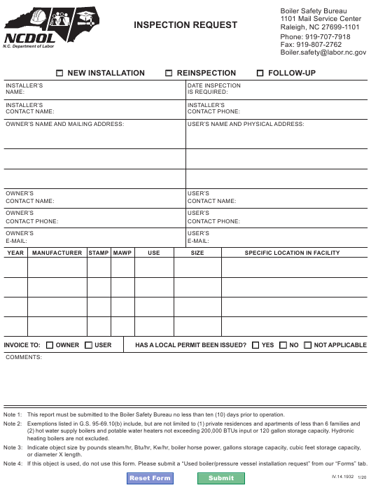 """Inspection Request"" - North Carolina Download Pdf"