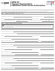 "Form GEN-53 ""Taxpayer Representative E-Business Center Access Authorization"" - North Carolina"