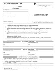 "Form AOC-CR-700 ""Report of Mediator"" - North Carolina"
