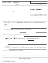 "Form AOC-CV-806 ""Arbitration Award (Superior Court)"" - North Carolina"