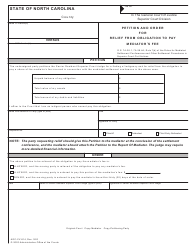 "Form AOC-CV-814 ""Petition and Order for Relief From Obligation to Pay Mediator's Fee"" - North Carolina"