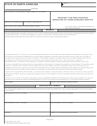 "Form AOC-CV-820 ""Request for Prelitigation Mediation of Farm Nuisance Dispute"" - North Carolina"