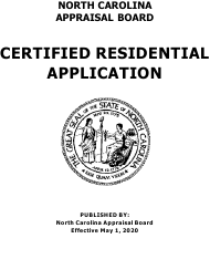 """Application for Certified Residential Certification"" - North Carolina"