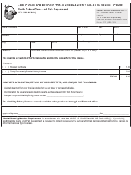 "Form SFN6533 ""Application for Resident Totally/Permanently Disabled Fishing License"" - North Dakota"