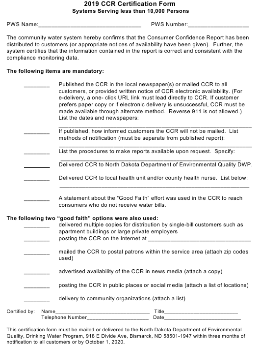 """""""Ccr Certification Form (Systems Serving Less Than 10,000 Persons)"""" - North Dakota Download Pdf"""