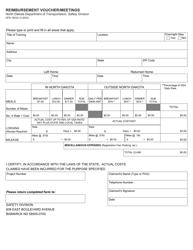 """Form SFN16632 """"Reimbursement Voucher/Meetings"""" - North Dakota"""