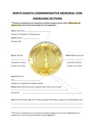 """North Dakota Commemorative Memorial Coin Engraving Form"" - North Dakota"