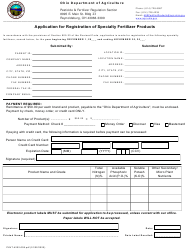 """Form PLNT-4202-008 """"Application for Registration of Specialty Fertilizer Products"""" - Ohio"""