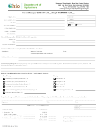 """Form PLNT-PP-4205-002 """"Application for Nursery Inspection"""" - Ohio"""